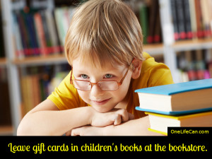 Mindful Act of Kindness - Leave Gift Cards in Children's Books at the Bookstore