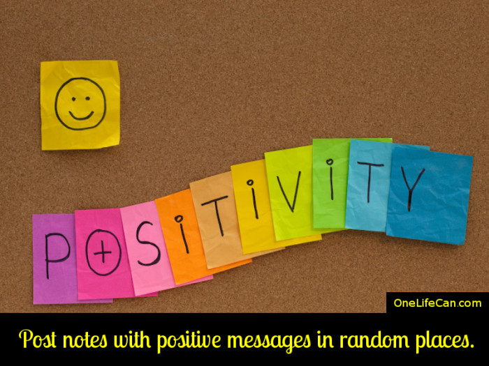 Mindful Act of Kindness - Post Notes with Positive Messages in Random Places