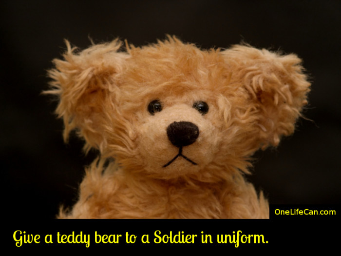 Mindful Act of Kindness - Give a Teddy Bear to a Soldier in Uniform