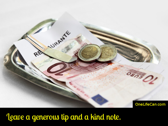 Mindful Act of Kindness - Leave a Generous Tip and a Kind Note